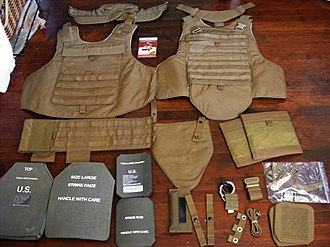 Small Arms Protective Insert - ESAPI and ESBI plates are visible with the components of a Modular Tactical Vest