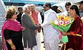 Mohd. Hamid Ansari being received by the Chief Minister of Karnataka, Shri Siddaramaiah on his arrival, at the HAL airport, Bangalore. The Governor of Karnataka.jpg