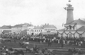 Andrey Dostoevsky - A fire lookout tower in Mologa (on the right) designed by Andrey Dostoyevsky.