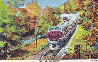 Monon Railroad - A postcard depiction of the Thoroughbred, with an EMD F3 in the lead.