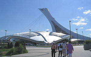 1976 Summer Olympics - Velodrome (foreground) and Olympic Stadium (its tower completed after the Games), Montreal