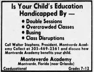 Montverde Academy - 1972 advertisement for Montverde Academy
