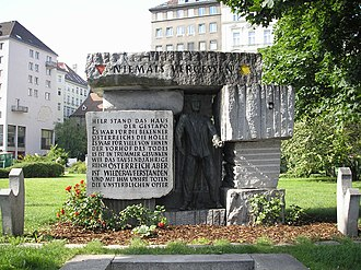Hotel Metropole, Vienna - Monument on Morzinplatz to the victims of Nazi terror