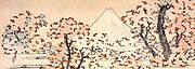 Painting of Mount Fuji and sakura.