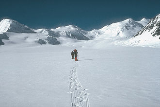 Mount Churchill - U.S. Geological Survey climbing party ascending the Klutlan Glacier en route to Mount Churchill