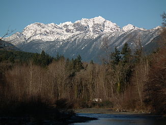 Dosewallips River in Dosewallips State Park, with Mount Constance in the background