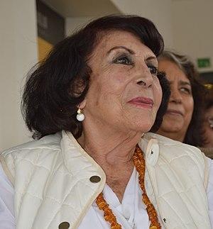 Geles Cabrera - Cabrera at a book presentation for the Salón de la Plástica Mexicana at the Museo de Estanquillo.