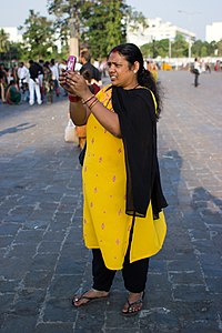 Mumbai Woman using phone November 2011 -9-3 2.jpg