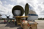 NASA 941 Super Guppy lands to pick up EM-1 Orion Service Module structural test article (KSC-20170623-PH-GEB01 0044).jpg