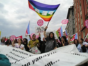 2004 Istanbul summit - Demonstrators protest against the summit in Istanbul.
