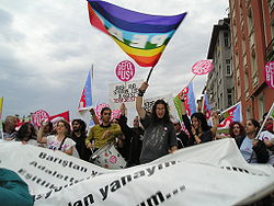 Demonstration against the 2004 NATO summit in Istanbul.