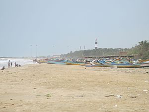 Nagapattinam - Image of fishing boat and lighthouse