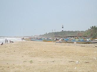 Nagapattinam - Image of fishing boat and lighthouse