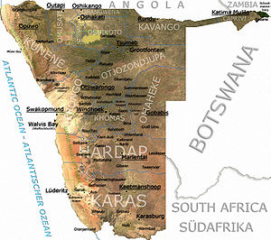 A detailed map of Namibia, based on radar images from The Map Library.