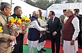 Narendra Modi and the President of France, Mr. Francois Hollande being received by the Governor of Punjab and Haryana and Administrator, Union Territory, Chandigarh.jpg