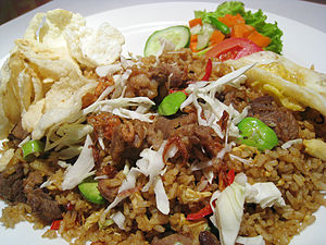 Nasi goreng - Nasi goreng with green stinky beans and goat meat in Jakarta.