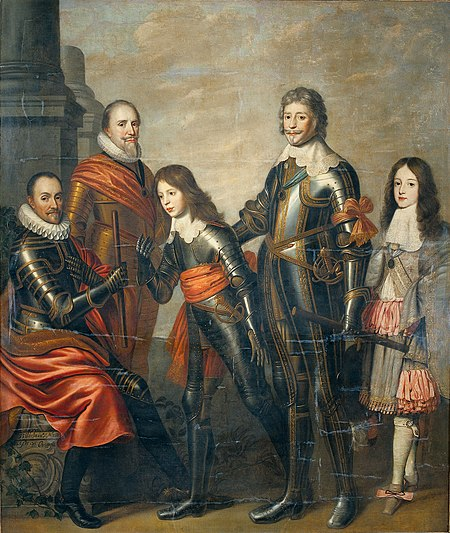 Composite portrait of four generations of Princes of Orange - William I (in role 1554-1584), Maurice (1618-1625) and Frederick Henry (1625-1647), William II (1647-1650), William III (1650-1702) - Willem van Honthorst, 1662 Nason, Pieter (attributed to) - Four generations Princes of Orange - William I, Maurice and Frederick Henry, William II and William III - 1662-1666.jpg