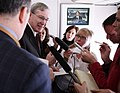 National Security Adviser Stephen Hadley holds a gaggle aboard Air Force One.jpg