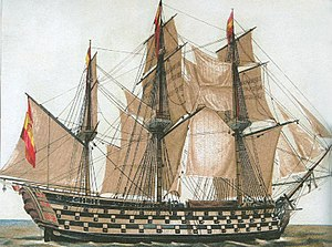 Capital ship - Ships of the line (of battle) were the capital ships of the era of sail. Shown the Spanish Santa Ana, a very large example with 112 guns.