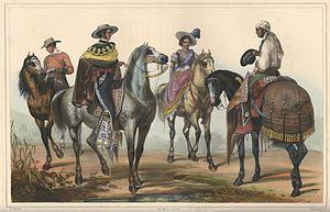 Mexicans of European descent - El Hacendero y su Mayordomo (The Hacendero and his Butler). Painting by Carl Nebel, c. 1836.
