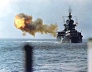 New Mexico class battleship bombarding Okinawa