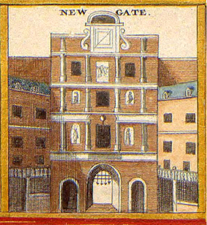 Newgate - An old illustration of the gate, c. 1650