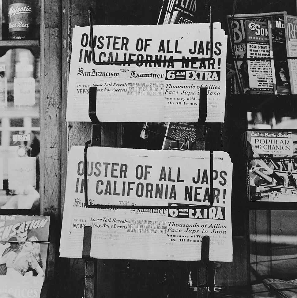 Newspaper headlines of Japanese Relocation - NARA - 195535