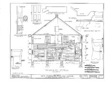 A black-and-white technical drawing of a cross section of the meeting house