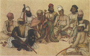 Maharaja of Patiala - Image: Nine courtiers and servants of the Raja Patiala