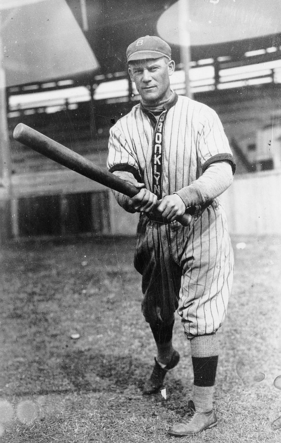 """Norman """"Kid"""" Elberfeld, a player for the Brooklyn Dodgers, full-length portrait, swinging his bat LCCN2004666458 (cropped)"""
