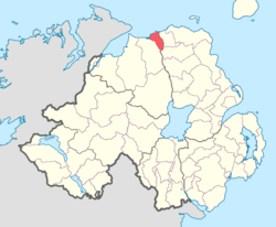 Location of North East Liberties of Coleraine, County Londonderry, Northern Ireland.