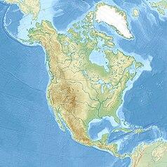 """Mapa konturowa Ameryki Północnej, u góry po lewej znajduje się punkt z opisem """"źródło"""", powyżej na lewo znajduje się również punkt z opisem """"ujście"""""""