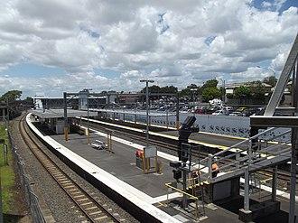 Northgate railway station, Brisbane - Southbound view from Platform 1 in December 2012