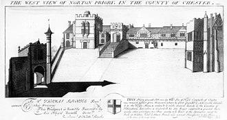 Norton Priory - Engraving of the Tudor house from the west by the Buck brothers, dated 1727