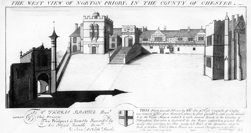 Engraving of the Tudor house from the west by the Buck brothers, dated 1727