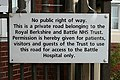 Notice at Battle Hospital entrance - geograph.org.uk - 996082.jpg