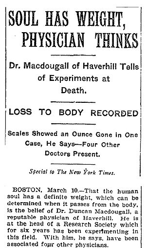 21 grams experiment - New York Times article from March 11, 1907