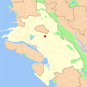 Glenview, Oakland, California - Location of Glenview in the City of Oakland.