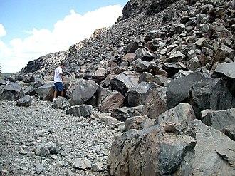 Debris - Obsidian debris (talus), Obsidian Dome, California.