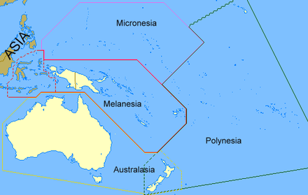 Regions of Oceania. New Zealand is considered as part both of Australasia and of Polynesia. Varying amounts of Melanesia (traditionally all of it) also count as part of Australasia. Oceanias Regions.png