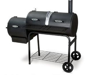English: a typical offset bbq smoker