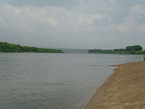 Oka river between Serpukhov and Kashira cities in Moscow region. Its width there is about 200 m (220 yd).