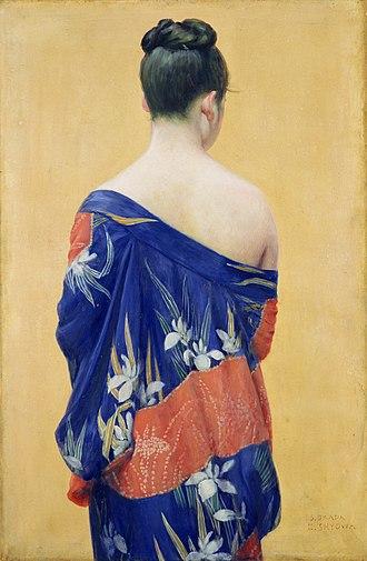 Okada Saburōsuke - Image: Okada Saburosuke Kimono with Iris Pattern