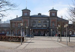 Aalborg station - Front facade of Aalborg station viewed from J. F. Kennedy Square