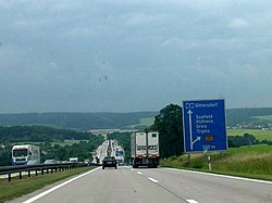 The original, two-lane autobahn, with no emergency lane (Germany)