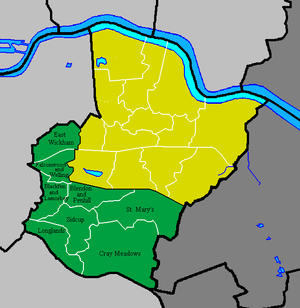 Old Bexley and Sidcup (UK Parliament constituency) - Wards of the Old Bexley and Sidcup constituency (green) within the London Borough of Bexley (yellow and green) from the 2010 General Election