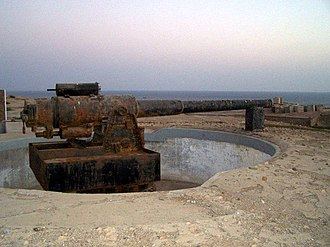 Pakistan Marines - A vintage cannon in the Manora Fort installed by the Royal Marines during the World War II.