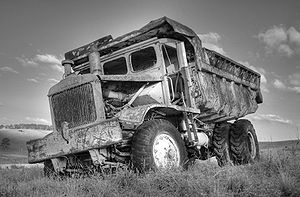 This old dump truck was decaying near the cott...