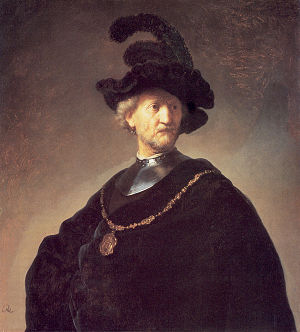 Bust of a Man Wearing a Gorget and Plumed Beret - Image: Old man gorget