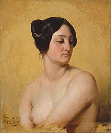 Malet portrett: byste av en naken kvinne på ensartet gul bakgrunn, vendt mot høyre og ser mot venstre, hvorav det ene brystet er skjult av den brettede armen, og det andre synlig, langt brunt hår, men trukket opp i en forsømt bolle ;  signatur i svart nede til venstre: Roma 1830 H Vernet